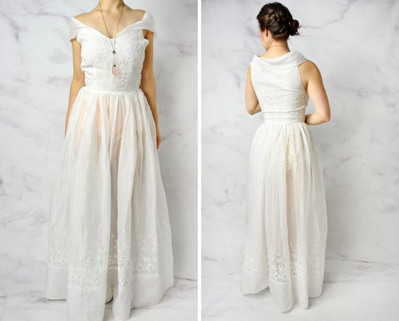 1940s bridal wedding gown with eyelet lace and portrait collar 26 waist Eyelet Lace Wedding Dress