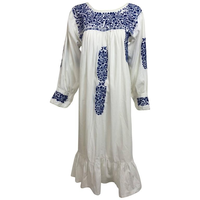 1960s blue and white embroidered oaxacan mexican wedding Oaxacan Wedding Dress