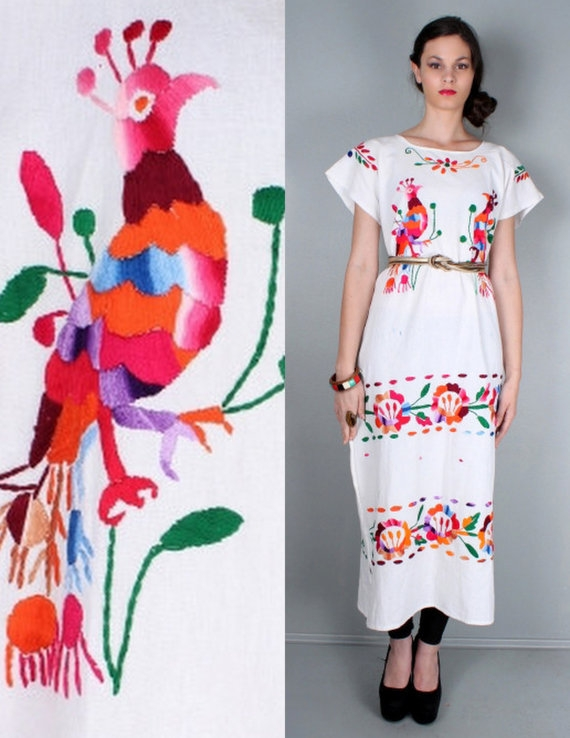 1970s floral and bird embroidered oaxacan mexican vintage Oaxacan Wedding Dress