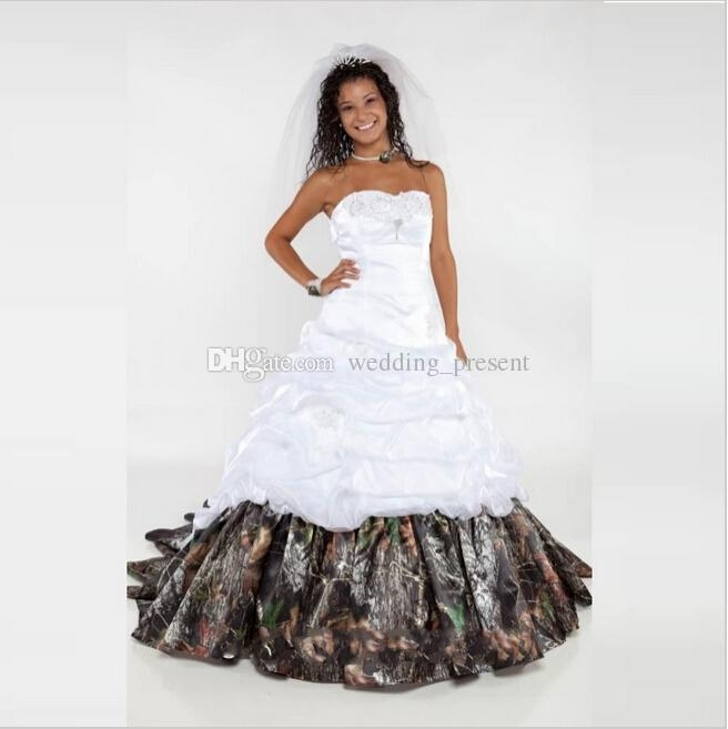 2016 realtree camo wedding dresses sweetheart lace up camouflage bridal dresses with appliques chapel train picked up wedding gowns 2015 Realtree Camo Wedding Dress