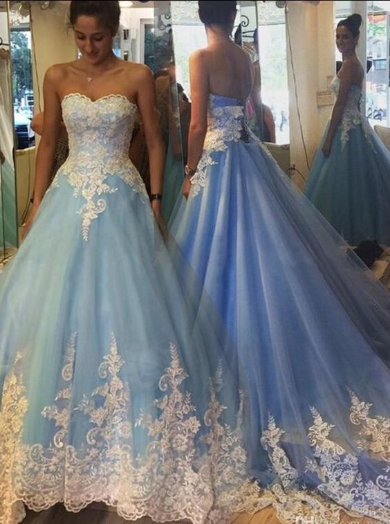 2017 blue cinderella wedding dresses princess wedding dresses appliques bridal gownsball gown prom dresses sweetheart blue prom dress with white Cinderellas Wedding Dress