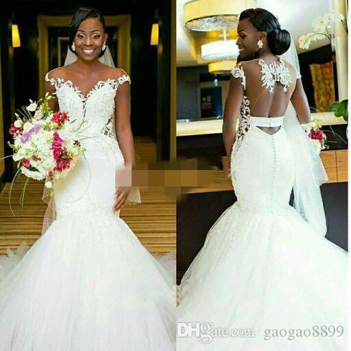 2019 african black girl mermaid wedding dresses bridal gowns sheer neck keyhole back sheer bridal gown with lace appliques bride wedding dress cheap Dhgate Wedding Dress