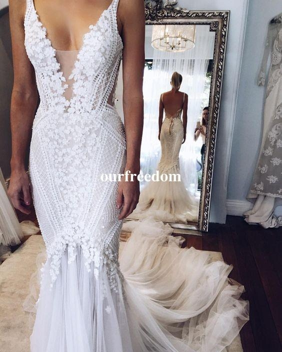 2019 berta pallas couture mermaid wedding dresses deep v neck sexy back unique lace sweep train summer spring bridal gown custom made real wedding Pallas Wedding Dresses