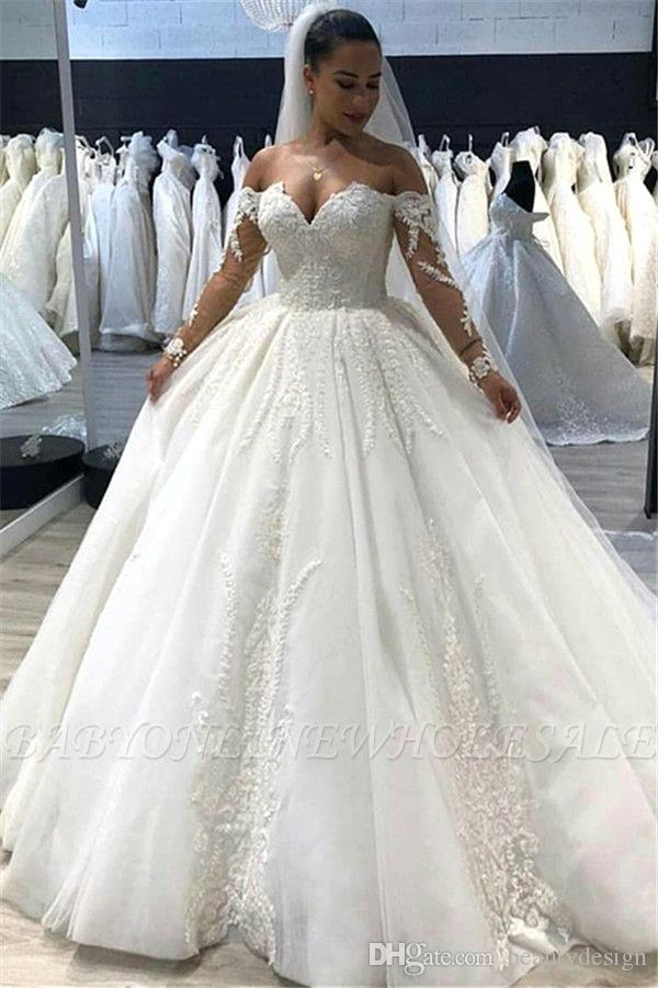 2019 luxury white off shoulder ball gown wedding dress lace appliqued long sleeves sweetheart plus size chapel bridal gown bc1995 Overstock Wedding Dresses