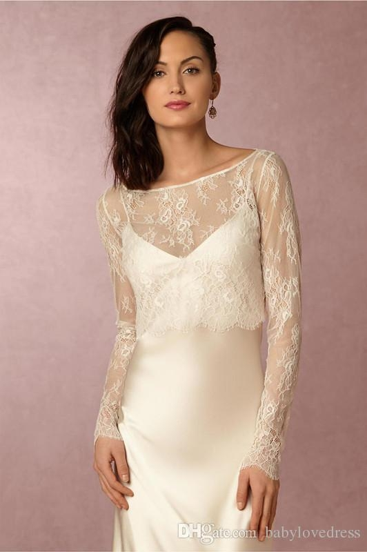 2019 new 2018 long sleeves lace bolero wedding dress jackets scoop neck open back short shawl bridal jacket for special party from balovedress Shrugs For Wedding Dresses