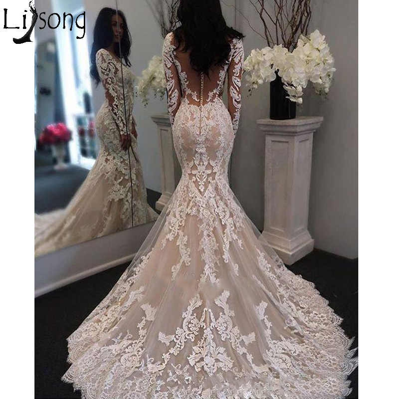 2019 new illusion long sleeves lace mermaid wedding dress tulle appliques court train elegant wedding bridal gowns with buttons Wedding Dresses Aliexpress