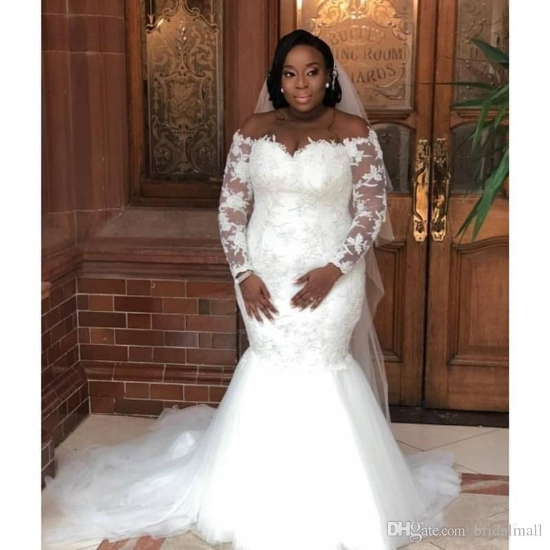 2019 plus size lace appliques mermaid wedding dresses off the shoulder sheer long sleeves bridal gowns south african wedding dress vestidos bridal Dhgates Wedding Dresses
