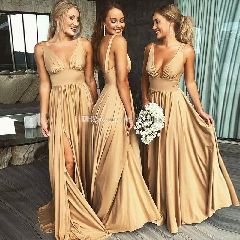 2019 sexy long gold bridesmaid dresses deep v neck empire Jcpenney Bridesmaid Wedding Dresses