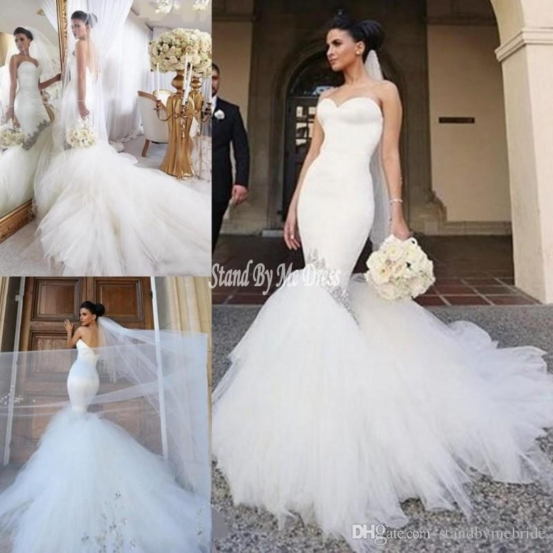 2019 simple design mermaid wedding dresses sweetheart beaded tulle sweep train beach bridal gowns vestidos sexy backless for wedding dress Mermaid Wedding Dresses Under 500