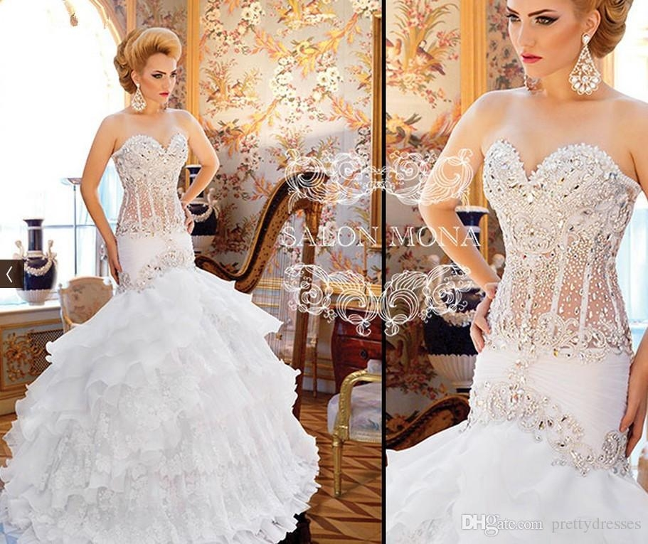 2019 sweetheart slim mermaid wedding dresses lace appliques beaded bling bling tiered bridal gowns customized long tiered vestidos de mariee Mermaid Wedding Dresses With Bling