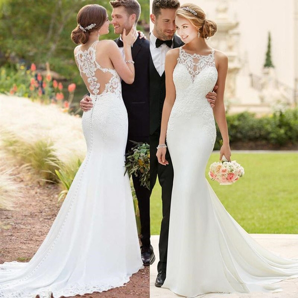 2019 vintage mermaid wedding dresses lace appliques beaded wedding gowns sweep train sexy bateau bridal gowns mermaid wedding dress pattern mermaid Mermaid Wedding Dresses Under 500