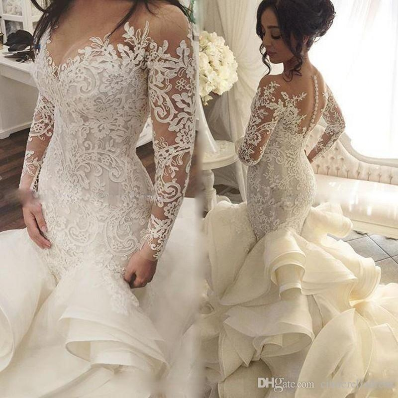 2019 vintage see through neckline wedding gowns lace appliques long sleeve backless fashion tiered cascading ruffles bridal dresses ba6757 western Dhgate Wedding Dress