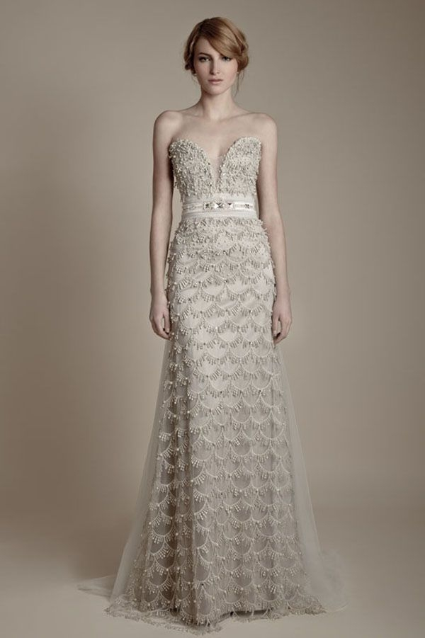 25 dazzling art deco wedding gowns wedding gowns art Anthro Wedding Dresses