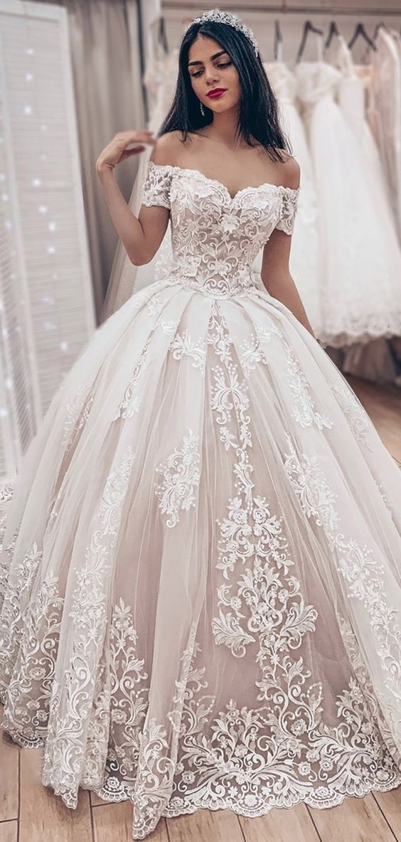 31680 dazzling tulle off the shoulder neckline ball gown Poofy Wedding Dresses