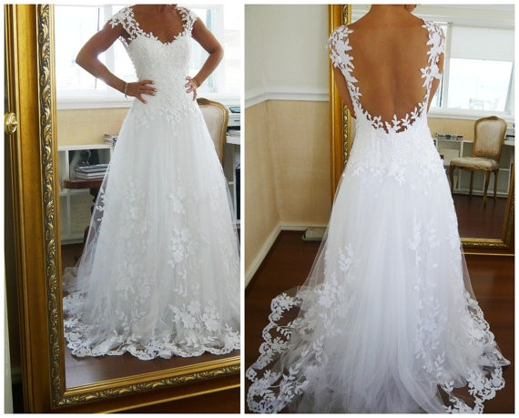 a line lace low back chapel train wedding dresslace wedding dresses from shedress Wedding Dresses With Low Backs