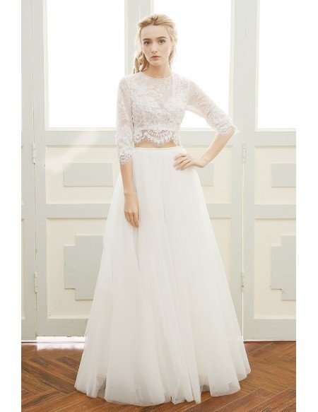 affordable boho wedding dress a line scoop neck floor length two piece tulle with lace df16 199 gemgrace Affordable Bohemian Wedding Dresses