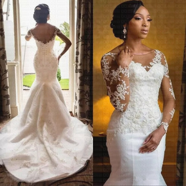 african wedding dresses from china sheer neck long sleeve beaded lace applique 2019 bridal gowns sweep train custom made dhgate white mermaid wedding Dhgates Wedding Dresses