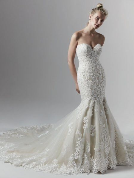 allover lace beaded strapless sweetheart mermaid wedding dress Sottero And Midgley Wedding Dresses