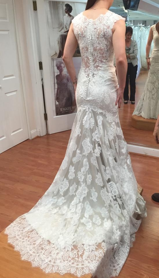allure bridals ivory over champagne lace satin 9068 modern wedding dress size 4 s 56 off retail Allure Wedding Dresses s