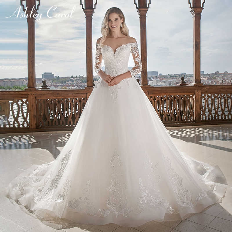 ashley carol vintage a line tulle wedding dress 2019 new arrival custom made sexy sweetheart long sleeve lace up wedding gowns Wedding Dresses Aliexpress