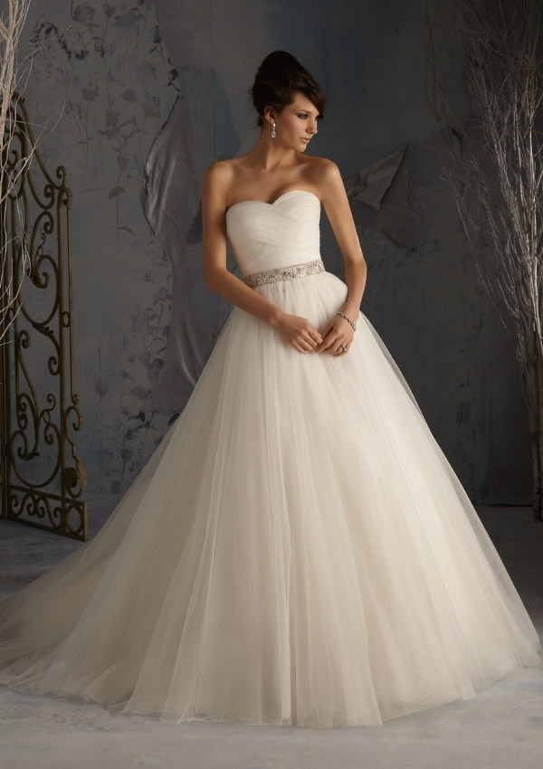 asymmetrically draped net ball style morilee bridal wedding Mori Lee Blu Wedding Dresses