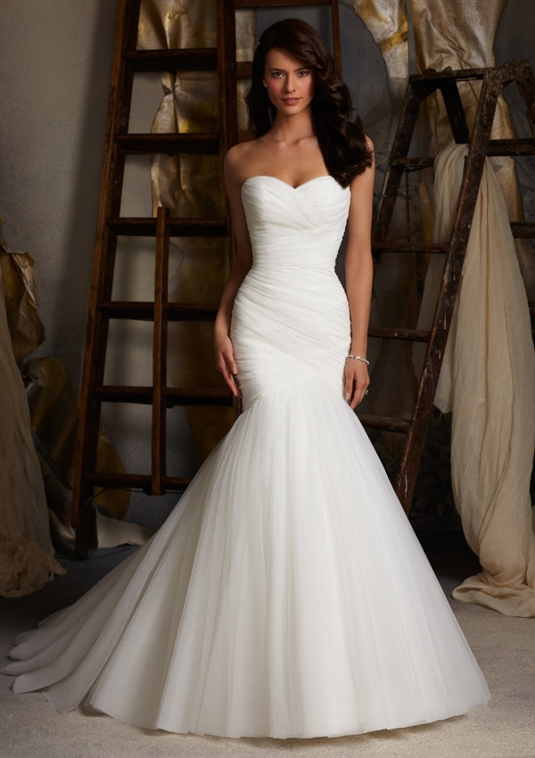 asymmetrically draped net morilee bridal wedding dress morilee Mori Lee Blu Wedding Dresses