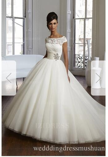 ball gown bateau chapel train tulle wedding dressa39 Gipsy Wedding Dresses