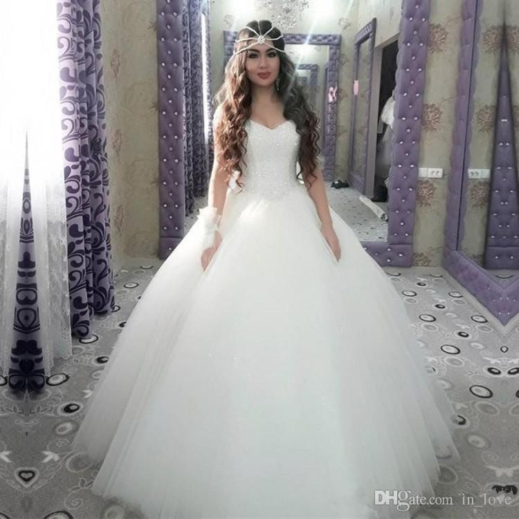 ball gown princess wedding dresses 2019 basque waistline crystals beaded top tulle skirt floor length bridal gowns custom size best wedding dress Basque Waist Wedding Dress