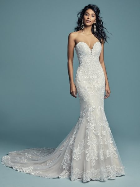 beading and embroidered fit and flare wedding dress Maggie Sottero Wedding Dresses