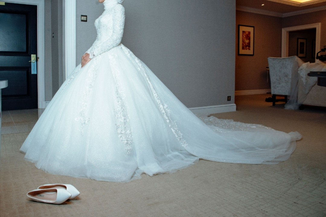beautiful muslimah wedding dress ballgown style with full inner lining and high neckline Muslimah Wedding Dress