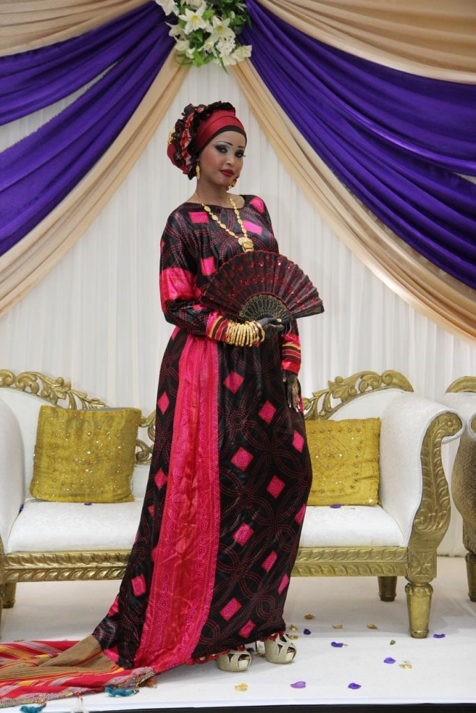 beautiful somali bride in her traditional somali clothes at Somali Wedding Dress
