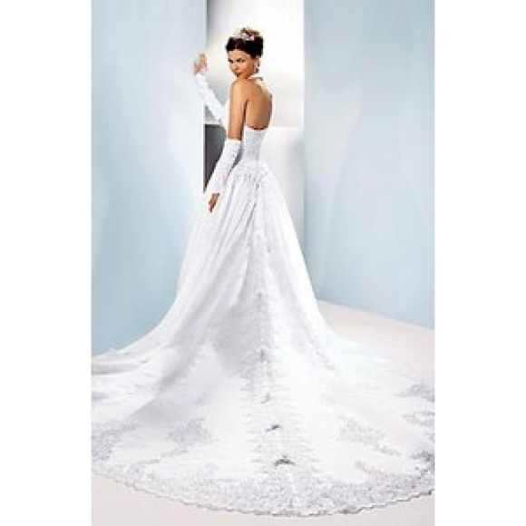 beautiful white wedding gown with cathedral train Davids Bridal Pretty Wedding Dresses