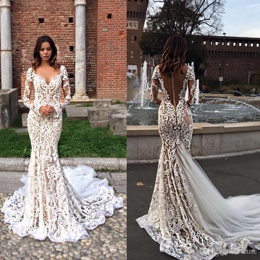 berta bridal vintage lace garden mermaid wedding dresses v neck long sleeve sweep train castle plus size fishtail wedding gown dress for wedding Berta Wedding Dress