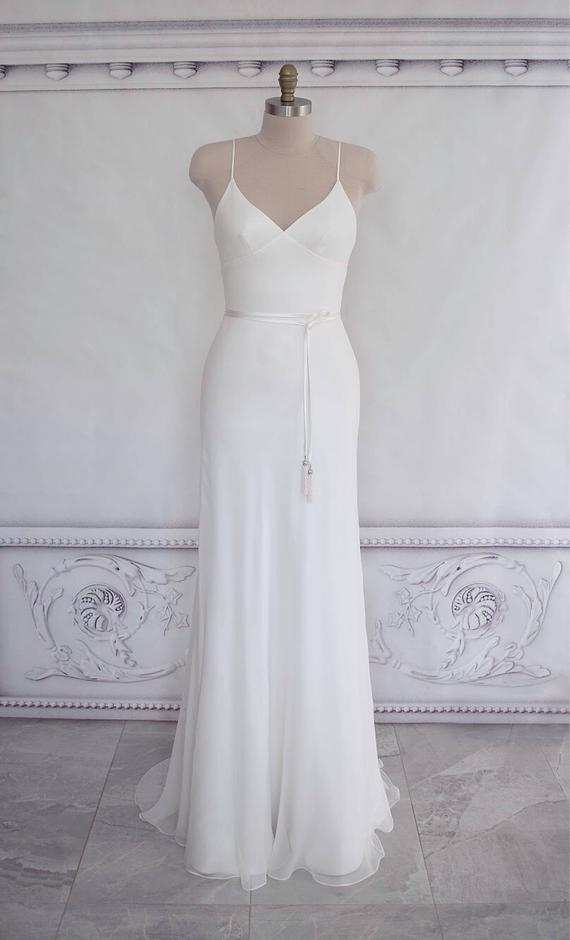 bias cut silk georgette wedding dress boho gown beach bridal gown straps dress open back gown simple wedding dress vlada Bias Cut Wedding Dress