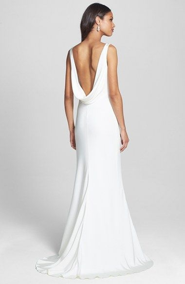 bliss monique lhuillier draped neck silk crepe wedding dress Nordstroms Wedding Dresses