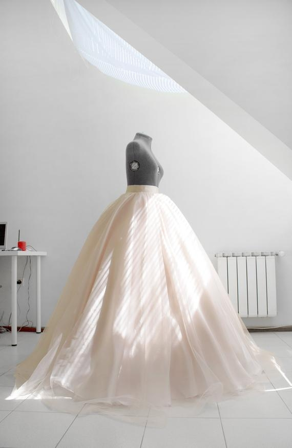 blush wedding skirt pale bridal skirt layered tulle skirt crinoline petticoat wedding gown separate ball skirt custom skirt made to measure Crinoline Skirt For Wedding Dress
