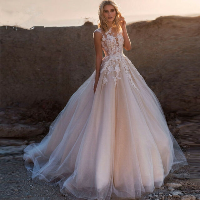 blushpink a line lace tulle wedding dress sleeveless buttons custom bridal gown Ebay Lace Wedding Dress