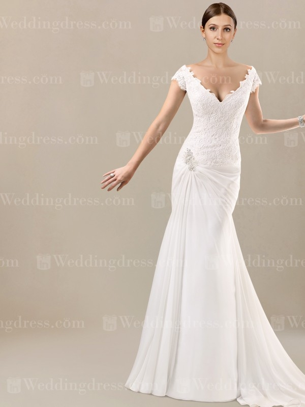 cap sleeves wedding dress with lace bodice sv19 Capped Sleeve Lace Wedding Dress