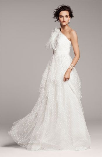 carmen marc valvo dotted tulle one shoulder gown via Swiss Dot Wedding Dress