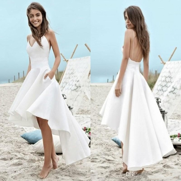 cheap under 100 summer wedding dresses 2018 a line beach boho bridal gowns high low backless spaghetti straps holiday gowns a wedding dress Pretty Wedding Dresses Under 100 Dollars