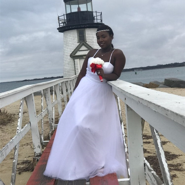 cheap white ivory tulle beach wedding dresses with spaghetti straps new sexy wedding gowns lace up back as low as 8543 also buy pretty dresses tea Lighthouse Wedding Dresses