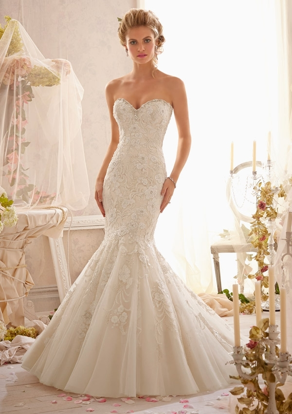 crystal beaded embroidery combined with venice lace Mori Lee Wedding Dresses s