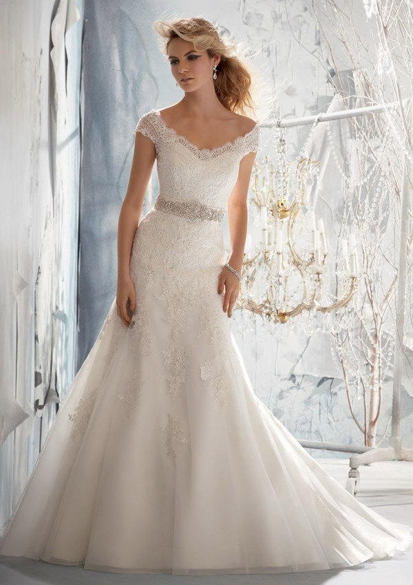 delicate alencon lace on net wedding dress morilee Alencon Lace Wedding Dress