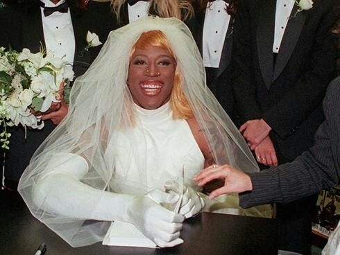 dennis rodman wore a wedding dress in 1996 to promote his Dennis Rodman In A Wedding Dress