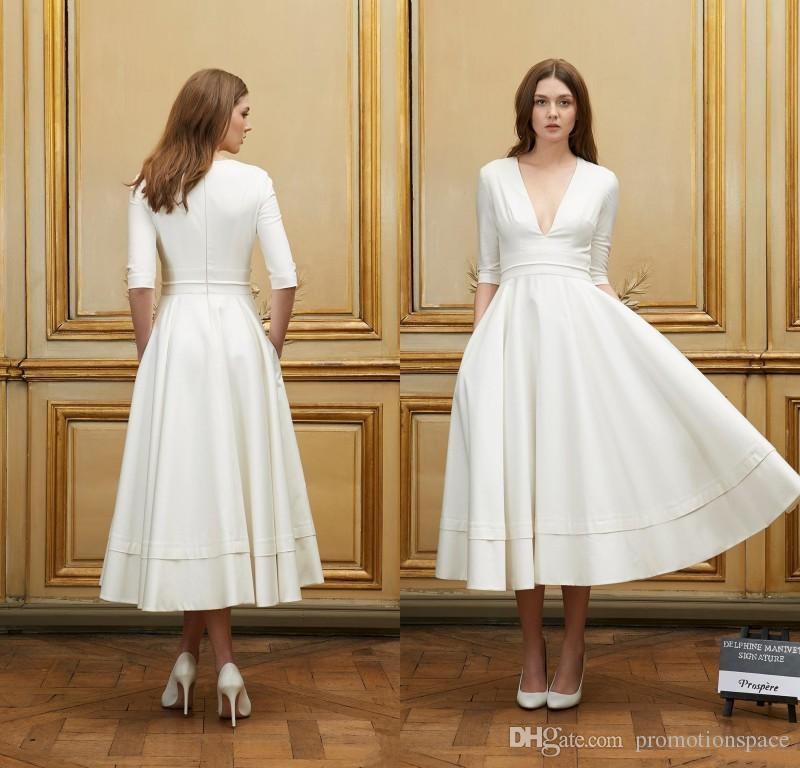 discount 2016 collection short beach wedding dresses with half sleeves delphine manivet a line sexy deep v neck vintage tea length bride dress wedding Delphine Manivet Wedding Dress