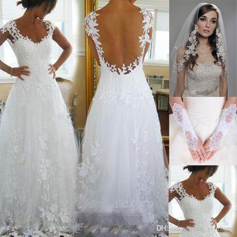 discount 2016 nicest wedding dresses cheap ever a line v neck sheer panel back court train bridal gowns get veil and gloves for free a line bridal Prettiest Wedding Dresses Ever