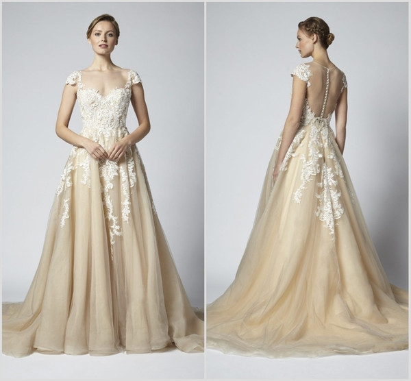 discount 2019 henry roth champagne wedding dresses lace cap sleeve bohemian beach bridal gowns boho a line wedding dress robe de marie wedding Henry Roth Wedding Dresses