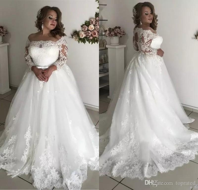 discount 2019 modest plus size wedding dresses sheer neck 34 long sleeve appliques illusion hollow back garden country bridal gowns robe de marie Plus Size Non Traditional Wedding Dresses