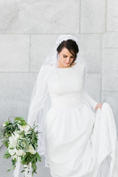 discount 2019 new crepe a line modest wedding dresses with long sleeves v back simple temple bridal gowns custom made lds wedding gowns off the rack Lds Temple Wedding Dresses
