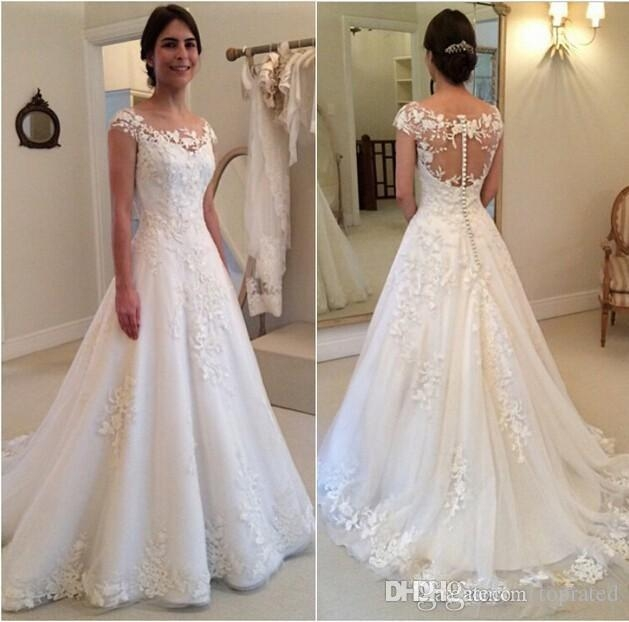 discount 2019 new modest wedding dresses lace cap sleeves covered button applique see through bateau sweep train bridal gowns custom made wedding gown Capped Sleeve Wedding Dress